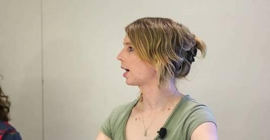 Description: Chelsea Manning at UCLA, March 6, 2018.